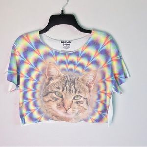 Tops - Trippy Cat Graphic Crop Top Tee S